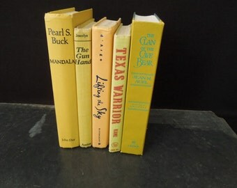 Yellow Melon Books for Decor - Book Stack - Old Books - Instant Library - Bookshelf Decor Vintage