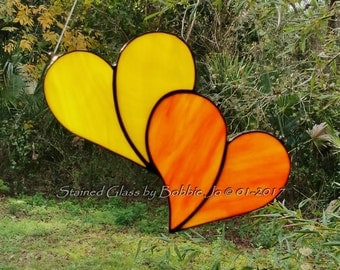 Sunny Yellow and Orange Double Stained Glass Heart Sun catcher Great for Valentines Day!