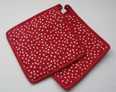 Quilted Hot Pot Holder or Trivet - Polka Dot in Red and White Polka Dot