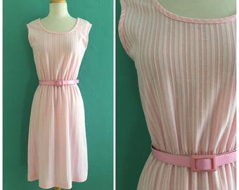 60's pink striped shift dress // pink summer dress ~ small medium