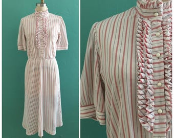 80's white striped secretary dress // ruffle collar day dress ~ small medium