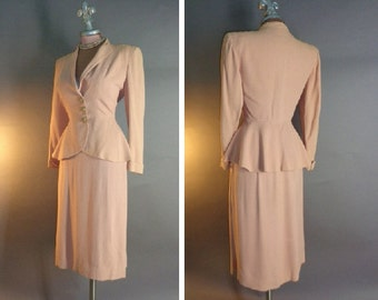 1940s suit 40s PINK PEPLUM SUIT special flared peplum gold swirl buttons jacket skirt 2pc suit