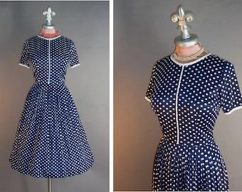 50s dress 1950s 1960s vintage BLUE POLKA DOT white dots nylon jersey full skirt fit and flare dress