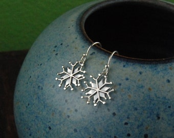 Large sterling silver snowflake charm earrings, snowflake, winter, snow, snowflake earrings, silver earrings, holiday, Christmas