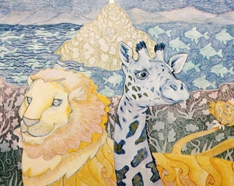 """1975 Vintage Lion and Giraffe Print. By Kristen Moeller. A Vision Print by Pomegranate. 14x11"""" Matted Animal Art Print. Jungle Animals"""