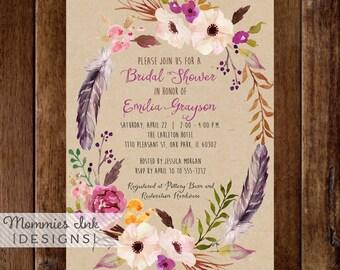 Watercolor Wreath Bridal Shower Invitation B, Watercolor Floral Bridal Shower Invite, Watercolor Invitation, Boho Invitation, Kraft Invite