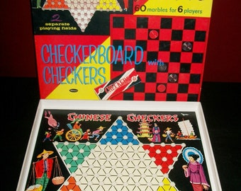 Vintage Whitman Chinese Checkers and Classic Checkers Games in Box