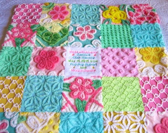 """Vintage Chenille Baby Quilt """"Tropical Brights"""" - Custom Order - Can be personalized"""