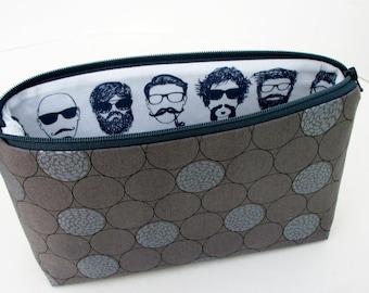 Hipster Zipper Pouch, Make Up Bag, Men, Beards, Man Bun, Guy Glasses