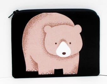 Small Zipper Pouch, Brown Bear on Black, Japanese Fabric