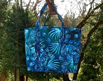 Blue Batik Hand Made Tote Purse Tropical Beach Design