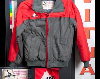 Vintage 1980s Burton Snowboard Jacket with Older Mountain Logo Mens Medium Red and Grey Entrant Insulation