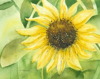Sunflower Original Watercolor Painting 4 x 6