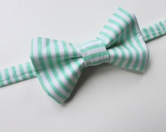 Little and Big Guy BOW TIE - Easter Spring - Mint Stripe - (Newborn-Adult) - Baby Boy Toddler Teen Man