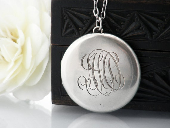 Antique Locket | Large Edwardian Sterling Silver Locket Necklace | Edwardian Monogram 'HD'  | Large Round Photo Locket - 36 inch Long Chain