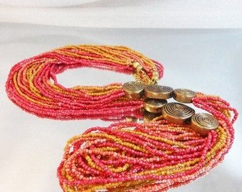 CHRISTMAS SALE Vintage Torsade Necklace. Coral. Yellow. Pink Glass Beads. Brass Accents.