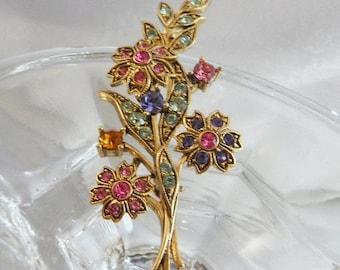 SALE Vintage Rhinestone Flower Bouquet Brooch. Pink, Lavender Blue, Mint Green