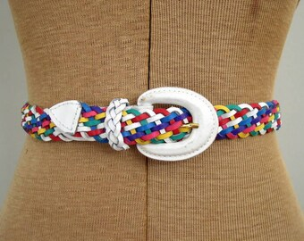 Vintage 1980's Preppy Braided Leather Belt / 80's Rainbow Belt / White, Pink, Purple, Yellow, Blue, Green and Red