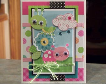 Handmade Greeting Card Features Cute Ladybug & Grasshopper with Google Eyes, Perfect for Children Birthday