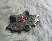 SECONDS - Bat Pin - BIG Hard Enamel Pin - dark glitter