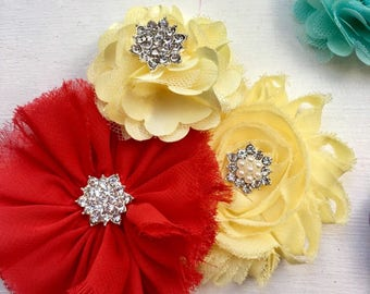 2 Red hair clip, gold hair clip, yellow hair clip, toddler hair accessory, baby shower gift for her, girl birthday gift, flower hair clip