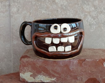 Stoneware Soup Mug in Chocolate Brown Black. Autumn Chili Crock. Accident Prone Face Mug. Handmade Ceramic Pottery Bowls. Sense of Humor.