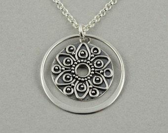 Mandala Necklace - Sterling Silver Mandala Jewelry, Zen Jewelry, Yoga Gifts, Buddhist Jewelry, Yoga