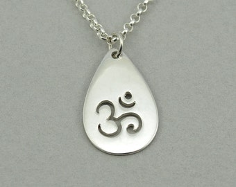 Tear Drop Om Necklace - Sterling Silver Om Jewelry, Ohm Necklace, Buddhist Jewelry, Om Pendant, Yoga Teacher Gift, Yoga Gifts