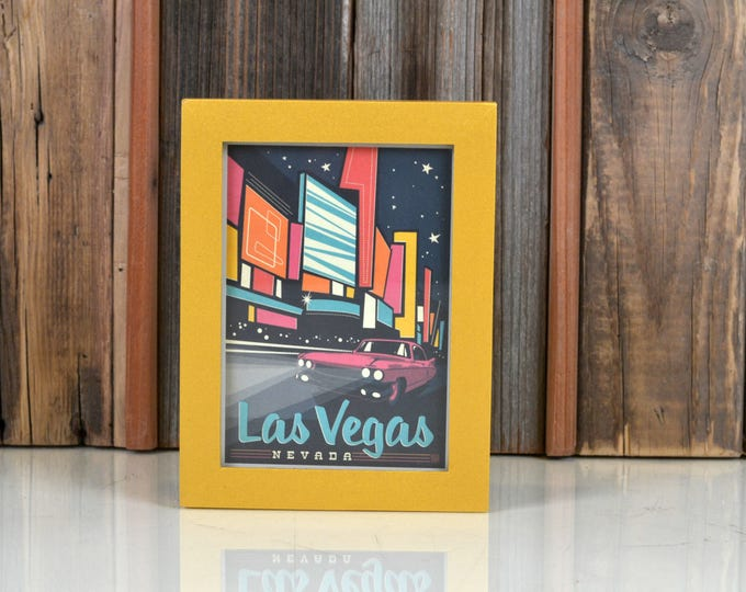 Las Vegas Nevada Framed Postcard - Travel Gift Frame - Solid Shimmer Gold Finish Peewee Style - IN STOCK Same Day Shipping