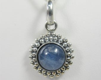 Kyanite 8mm Cabochon Sterling Silver Necklace Pendant