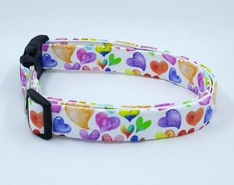 Watercolor Hearts on White Dog Collar