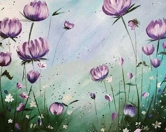 Amethyst Blooms 16x20 original acrylic painting purple wildflowers