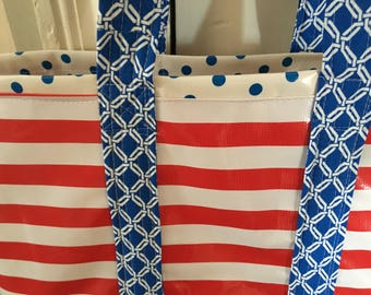 The USA---  Large oilcloth tote bag in red, white and blue