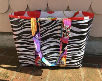 Funky zebra oilcloth tote bag