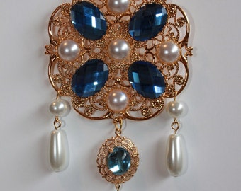 Sky Blue and Pearl Tudor Brooch Renaissance Medieval Jewelry Pin Borgias Jane Seymour Anne Boleyn