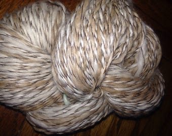 "182 Yards Luxury Alpaca / Silk Handspun Two Ply Yarn  ""Caramel Latte"""