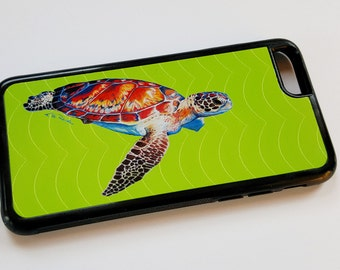 Speedy Sea Turtle on a lime green iPhone case fits iPhone 6 and 6+