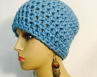 Sky Blue Crocheted Beanie