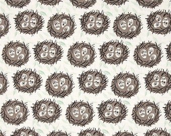 Perch Sketched Bird Nest Fabric Eggs in Nests Spring Fabric by Rae Ritchie for Dear Stella
