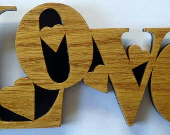 Love wall hanging, scroll saw cut, wooden art, woodworking, wall decor, fretwork--4L