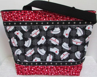 Nurse Hat Large Tote Bag Red Cross Purse Black and Red Shoulder Bag Ready To Ship