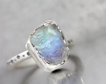 Raw Moonstone Silver Statement Ring White Gray Blue Pink Green Magic Lunar Crater Rock Boho Rough Gemstone October Birthstone - Albategnius