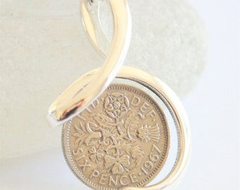 50th birthday gift for women. Sixpence necklace. 1967 Birthday necklace. Birth year gift. Birth year necklace. Birthday gift for a woman