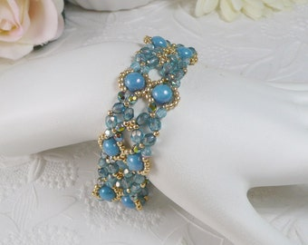 Woven Bracelet Turquoise and  Golden Seed Beads