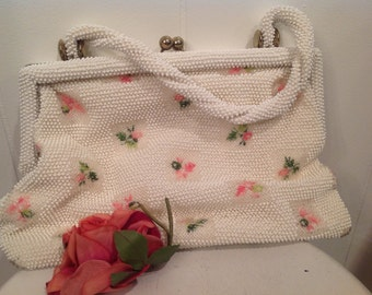 Vintage Petite Bead Purse ~ White Handbag with Pink Flowers ~ Vintage Accesories ~ Pink and White Purse ~  Gift For Mom ~ Shabby Chic