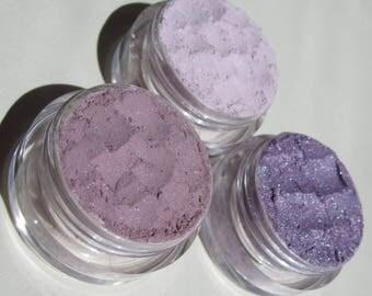 Geschenkset alle Purpur Schatten | Vegan-Mineral Lidschatten-Geschenk-Set 3-spielerische Schimmer/Glitzer