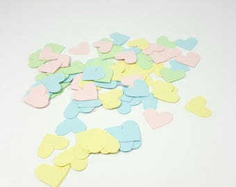 Heart Confetti, Paper Hearts, Table Scatter, Pastel Hearts, Large Confetti, 200 count