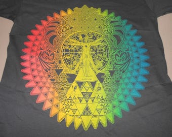 T-Shirt - Fractal of Self (Rainbow on Charcoal)