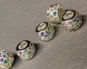 European style Pink AB Rhinestone Bling beads on white little lot of Five Mix and Match add to bracelet (NOT INCLUDED)