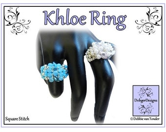 Beading Pattern, Tutorial, Ring - KHLOE